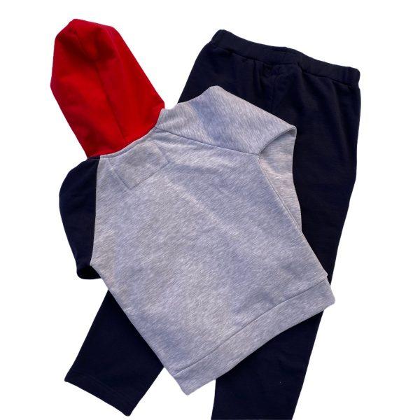 detská bavlnená mikina-modrosivá